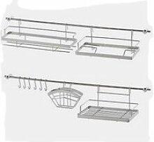 Küchenreling 16 TEILE Gerätehalter Hakenleiste Küchenleiste Küche Haken Reling Metlex