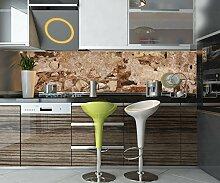 Küchenrückwand Alte Mauer, gebaut aus Stein und