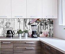 Küchenrückwand Musik Style Blüten Rosa Deko Design M0547 | 180 x 60cm (B x H) | Aluminium gebürstet 3mm
