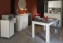 Küchenschränke mit Esstisch weiss Melamin/ Alu
