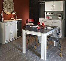 Küchenschränke mit Esstisch weiss Melamin/ Alu Melamin