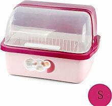 Küchenschränke Plastikabdeckung Regal Drain Schüssel Geschirr Aufbewahrungsbox Dish Racks Essstäbchen Aufbewahrungsbox ( Farbe : Pink , größe : S )