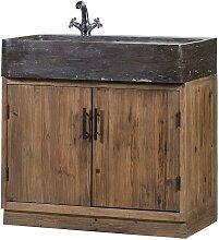 Küchenschrank aus Stein und Massivholz inklusive
