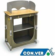 Küchenschrank mit ALPIN CONVER Arbeitsplan Bamboo Camper Camping