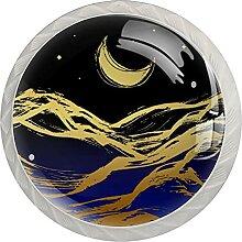 Küchenschrankknöpfe Berge Flüsse Mondsterne