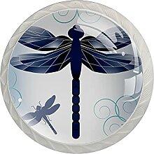 Küchenschrankknöpfe Blaue Libelle