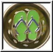 Küchensieb Emaille Flip Flops Limettengrün