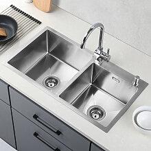 Küchenspüle 2 Schalen 80*45CM Spülbecken 2