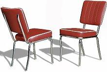 Küchenstuhl 2-er Set Esszimmerstuhl Dinerstuhl Bürostühle 50er Jahre Stuhl Diner Stühle (Ruby)