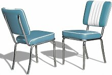 Küchenstuhl 2-er Set Esszimmerstuhl Dinerstuhl Bürostühle 50er Jahre Stuhl Diner Stühle (Blue/White)