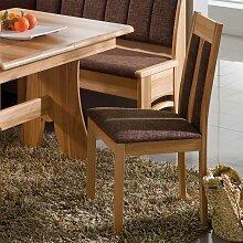 Küchenstuhl aus Kernbuche Stoffbezug (2er Set)