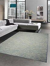 Küchenteppich Indoor Teppich Outdoor Teppich beidseitig nutzbar blau meliert Größe 160x220 cm