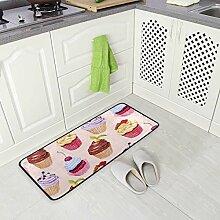Küchenteppich mit Aquarell-Cupcake-Design,