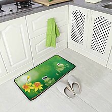 Küchenteppich mit Frosch-Motiv, rutschfest,