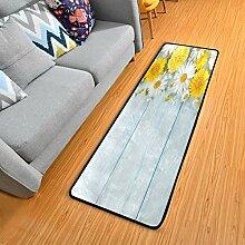 Küchenteppich mit Gänseblümchen-Motiv,