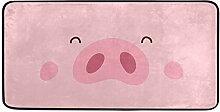Küchenteppich mit niedlichem Schweinchen-Design,