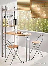 Küchentisch mit Regal und 2 Stühlen, klappbar,