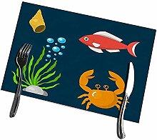 Küchentischmatten 6er-Set Aquatische lustige