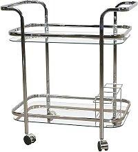 Küchenwagen aus Glas und verchromtem Stahl 75 cm