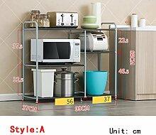 Küchenwagen Küche Regal / Mikrowelle Rack / Boden Edelstahl Regal / Küche Ofen Regal Küchenregal ( Farbe : 2 )