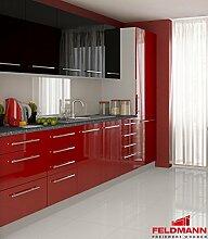 Küchenzeile 16895 Küchenblock 280cm grau / dunkelrot + schwarz Hochglanz