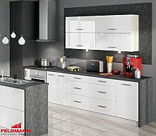 Küchenzeile 169023 Küche 10-teilig 300cm jersey / weiß Hochglanz