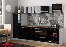 Küchenzeile 169028 Küche 280cm grau / schwarz Hochglanz