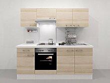 Küchenzeile 210 cm Akazie mit Einbauherd + Kochplatten - Arezzo