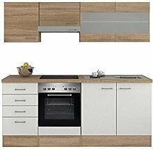 Küchenzeile 210 cm Weiß Sonoma Eiche mit Glashänge- und Schubkastenschrank - Salerno
