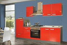 Küchenzeile 270 cm Komplett Küche rot mit