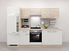 Küchenzeile 270 cm weiss Sonoma Eiche mit Glaskeramikochfeld - Salerno