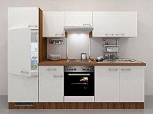 Küchenzeile 270 weiss Nussbaum mit Herd und Kochplatte - Como