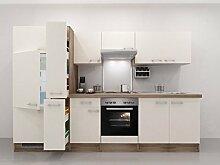Küchenzeile 300 cm Magnolie mit Geräten und Apothekerschrank - Magnolia
