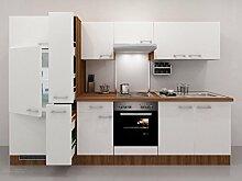 Küchenzeile 300 cm Weiß Nussbaum + Einbaugeräte & Apothekerschrank - Como