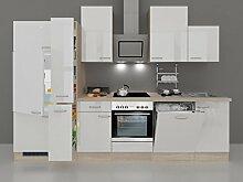 Küchenzeile 310 cm Hochglanz Weiß mit Dessauer Einbaugeräten- Valencia