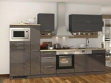 """Küchenzeile Einbauküche Küche Küchenblock Küchen-Set Kochnische """"""""Mailand III"""""""" Grau Hochglanz"""