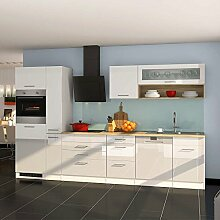 Küchenzeile in Weiß Hochglanz Eiche Sonoma Elektrogeräte (13-teilig) Pharao24
