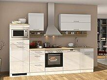"""Küchenzeile Küche Küchenblock Einbauküche Küchen-Set Kochnische """"""""Mailand II"""""""" Weiß Hochglanz"""
