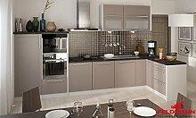 Küchenzeile Küche L-Form 330 x 150cm 16902 grau / beige ma