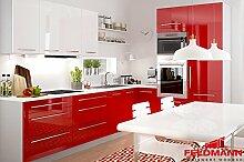 Küchenzeile Küchenblock 16892 L-Form 270 x 210 cm grau / rosenrot + weiß Hochglanz