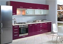 Küchenzeile Küchenblock jersey violett Hochglanz 300 cm