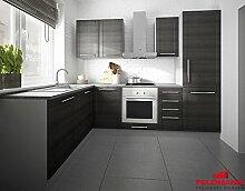 Küchenzeile L-Form 1615312 grau / fino schwarz 140x250cm