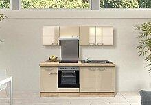 Küchenzeile P-821 Neapel Kaschmir Glanz Sonoma Eiche Dekor