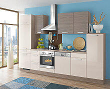 Küchenzeile Sandbeige Hochglanz/Cherry Grau inkl- Elektrogeräte ca. 320 cm