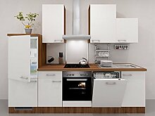 Küchenzeile Weiß 280 cm mit Geräten und Demischrank - Como