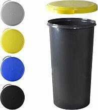 KUEFA 60L Mülleimer (ohne Ring) mit flachem Deckel (Gelb)