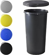 KUEFA 60L Mülleimer (ohne Ring) mit flachem Deckel (Grau)