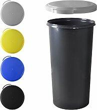 KUEFA 60L Mülleimer (ohne Ring) mit flachem Deckel (Hellgrau)