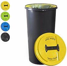 KUEFA BSC6 LA - 60L Mülleimer / Müllsackständer / Gelber Sack Ständer (Gelb, Gelber Sack)