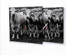 Kühe - Lautlose Wanduhr mit Fotodruck auf Leinwand Keilrahmen | geräuschlos kein Ticken Fotouhr Bilderuhr Motivuhr Küchenuhr modern hochwertig Quarz | Variante:30 cm x 30 cm mit schwarzen Zeigern - GERÄUSCHLOS